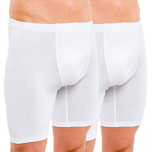 HERMKO 8955 2er Pack Herren Longpant aus Baumwolle/Elastan, Farbe:weiß, Größe:D 5 = EU M
