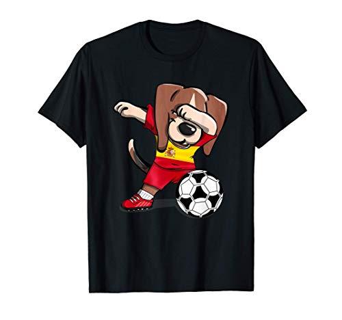Dabbing Beagle Dog Fútbol de España - Bandera de España Camiseta