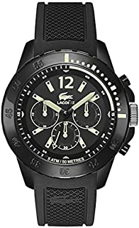 Lacoste Fidji Men's Black Dial Silicone Band Chronograph Watch - 2010740