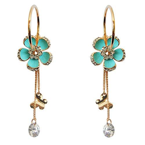 Navachi - Orecchini a cerchio placcati in oro 18ct, con fiore smaltato, catenina pendente e pietre chiare, diametro2,5 cm e 18ct base metallo placcato oro, colore: Blue, cod. HB6-2721-4