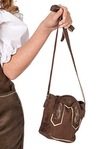 Tasche Oktoberfest Braun Rucksack Leder-Imitat Handtasche für Damen Karneval Fasching