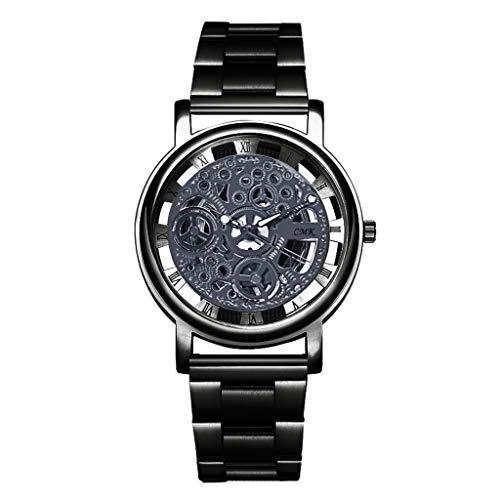 Celucke Armbanduhr Herren mit Edelstahl Armband, Männer Uhren Skelettierte Luxusuhren Business Herrenuhr Klassisch Quarzuhr Analoguhr Herrenarmbanduhr