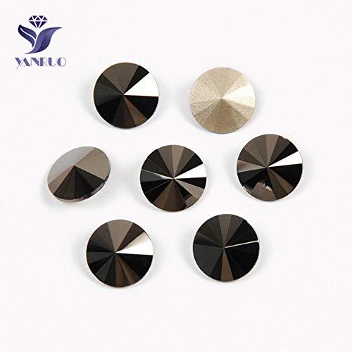 MFKW 1122 Rivoli Glass Sew On Crystal Beads Elements, gouden strassteentjes met pointback strass voor diamantstrassteentjes, jet hematiet, met zilveren ketting