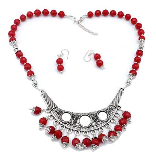 Conjunto de pendientes de collar de cuentas de plan rojo de 18 'de largo chapado en plata de ley hecha a mano joyería de arte tienda de variedad completa