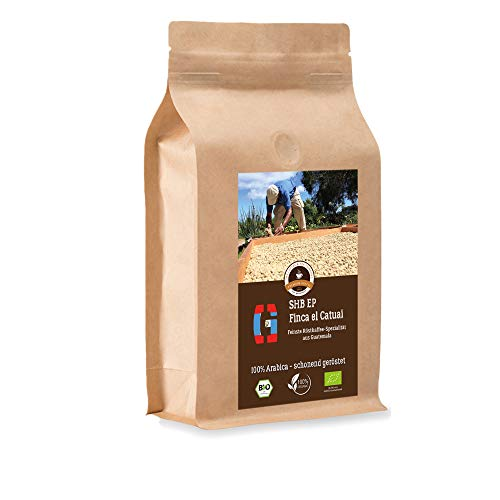 Kaffee Globetrotter - Bio Guatemala SHB EP Finca El Catuai - 500 g Ganze Bohne - für Kaffee-Vollautomat, Kaffeemühle, Handmühle, - Spitzenkaffee - Röstkaffee aus biologischem Anbau