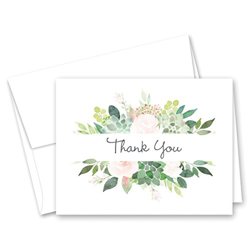 Elegant Succulent and Roses Border Thank You Cards with Envelopes - 50 cnt