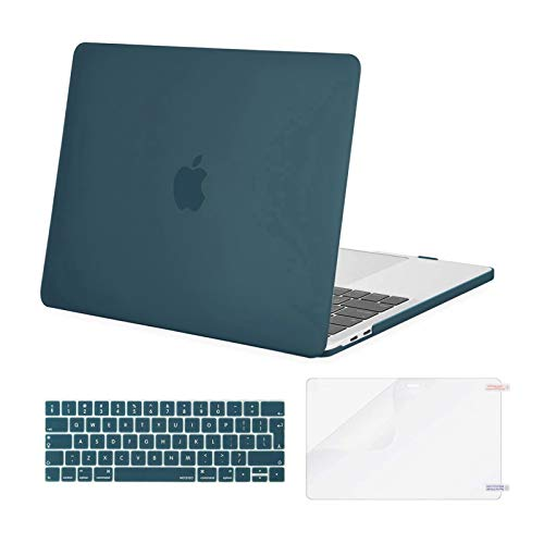MOSISO Funda Dura Compatible con 2019 2018 2017 2016 MacBook Pro 13 USB-C A2159 A1989 A1706 A1708, Carcasa Plástico&Cubierta de Teclado de Color a Juego&Protector de Pantalla, Trullo Profundo