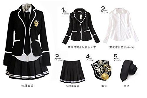 Evalent Japanese Anime Clothes Classic Navy Sailor Suit Short Sleeve Girl Students School Uniforms White (XL, Black)