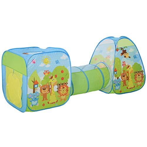 HOMCOM Pop up Kinderspielzelt 3-teiliges Babyzelt Kinderzelt Tunnel Faltbar Polyester 230 x 74 x 93 cm
