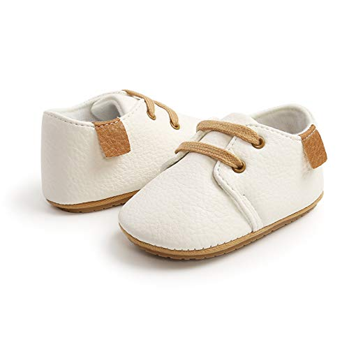 AmbabeOnline Baby Girl Boy Leather Shoes Lace Up Soft Booties Newborn Infant Toddler First Walker Outdoor Fall Shoes (White, 11cm)