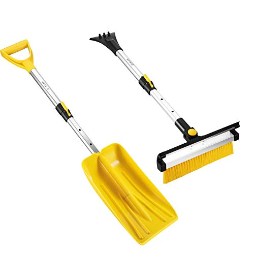 ISILER Extendable Four in One Snow Removal Kit with Snow Shovel, Ice Scraper, Snow Brush and Squeegee for Cars Trucks