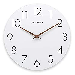 Plumeet 12'' Wooden Wall Clock Frameless Clocks with Silent Quartz Movement - Modern Style Village Wall Clocks Decorative Home Kitchen - Battery Operated (White)