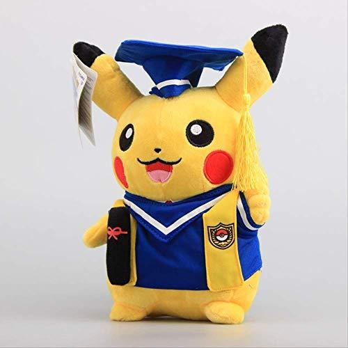 LHAHGLY Pokemon Anime Pikachu Graduate Montage weiches Plüschspielzeug 28 cm, Blaue Kleidung Pikachu ausgestopfte Puppen für Kinder Pokemon Kuscheltier