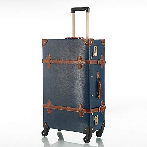 GGYMEI Valigia Vintage , Design angolare for Valigia Trolley Adatto for riporre Abiti e Giocattoli pu , 3 Colori 2 Taglie (Color : Blue, Size : 63.5x36x24cm)