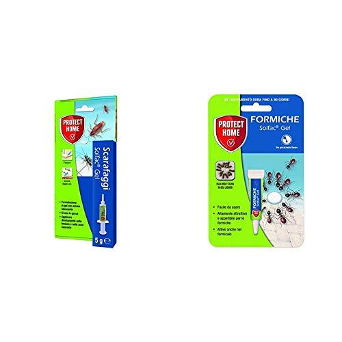 PROTECT HOME Solfac Siringa Gel per Scarafaggi: insetticida con Azione adescante, 5 gr & Home Solfac Tubetto Gel Formiche: Esca insetticida attrattiva liquida pronta all'Uso, 4 gr