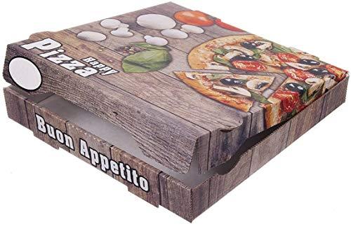 TOP Marques Collectibles 100 Pizzakartons Pizzaboxen braun NYC New York 4,2cm hoch Piccante Verschiedene Größen zur Auswahl (26x26x4.2cm)