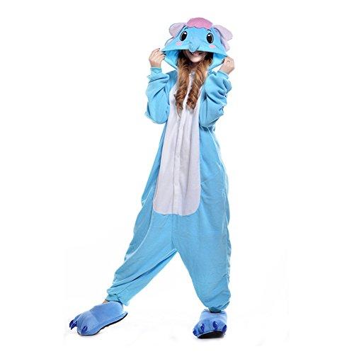 LPATTERN Unisex-Erwachsene Cosplay Pyjamas Onesie Tier Kostüm Schlafanzug Jumpsuit für Halloween Karneval, Blauer Elefant, Large (Korpergröße 170-178CM)