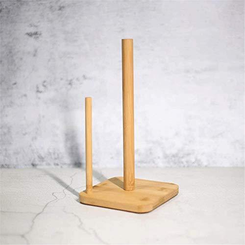 TXOZ - Estantería de madera maciza, soporte para rollos de papel de cocina, barra de madera de bambú para cocina, decoración del hogar, estante de almacenamiento de pared de acero inoxidable.