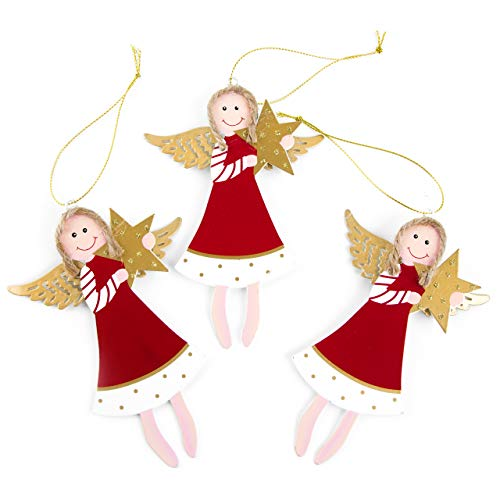 Logbuch-Verlag 3 große Engelanhänger aus Metall rot Gold m. Stern Engelfigur zum Aufhängen Deko Weihnachten Weihnachtsanhänger Geschenk