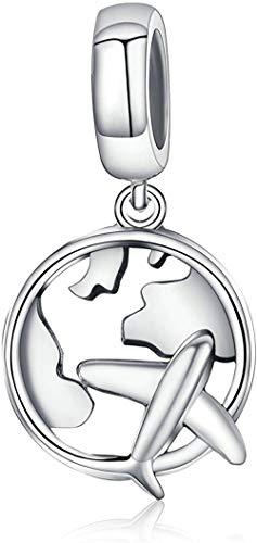 Charm de colgante de avión viajero abalorio de plata de ley 925 colgante para Pandora pulseras europeas collar regalo para mujeres niñas