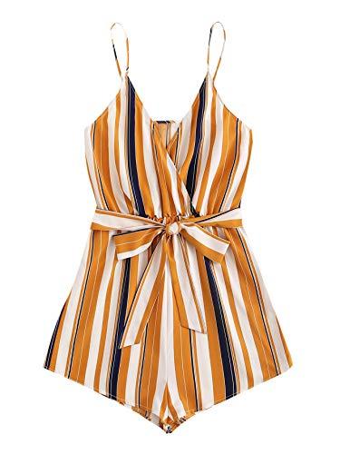 SweatyRocks Women's Boho Floral Print V Neck Beach Shorts Romper Jumpsuit with Belt Multicolor L