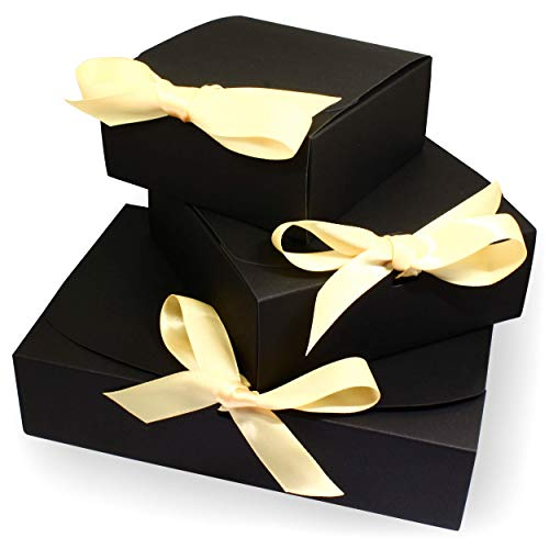 3 Geschenkboxen | Set mit verschiedenen Größen | Edles Design mit Schleifen | Geschenk-Schachtel Geschenk-Karton (schwarz)