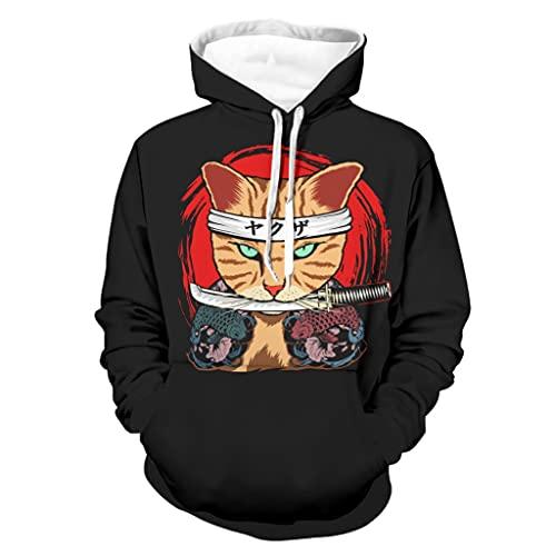 Shinelly Sudadera con capucha para hombre con diseño japonés de gato guerrero Katana, de manga larga, con bolsillos, color blanco, talla L