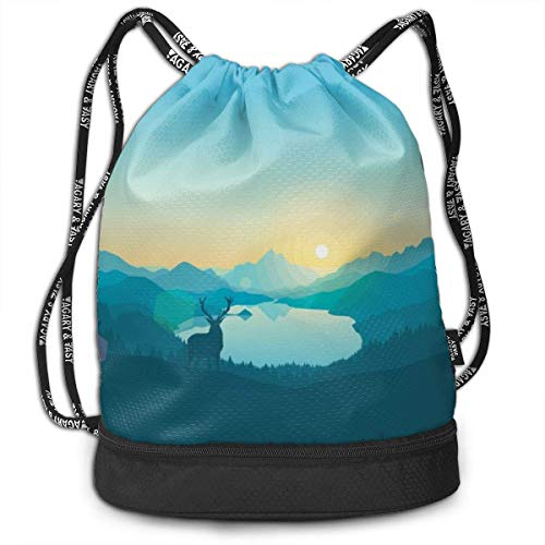 Leila Marcus Kordelzug-Rucksack, Saitentaschen Lake Forest Sky Cinch Großpackung für Fitnessstudio, Laufgitter, Wandern