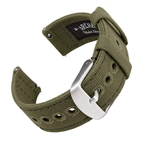 Archer Watch Straps | Cinturini Ricambio da Polso a Sgancio Rapido in Tela per Orologi e Smartwatch, Uomini e Donne (Verde Oliva Chiaro, 18mm)