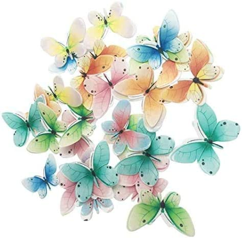 Set of 30 Edible Butterfly Cupcake Toppers Wedding Cake Birthday Party Food Decoration Mixed product image