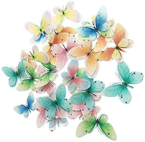 Set of 30 Edible Butterfly Cupcake Toppers Wedding Cake Birthday Party Food Decoration Mixed Size & Colou