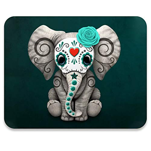 AUDIMI Mouse Pad Day of The Dead Sugar Skull Pattern Adorable Elephant Non-Slip Rubber Mousepad