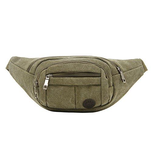 ZYT Poches à glissière sport rétro toile tissu paquet hommes pour hommes et femmes téléphone portable Pocket . army green