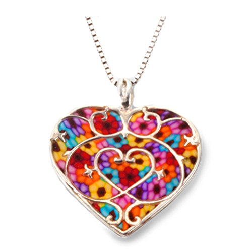 925 Sterling Silver Heart Pendant Fleur de Lis Love Necklace Multi-Colored Polymer Clay Jewelry, 16.5