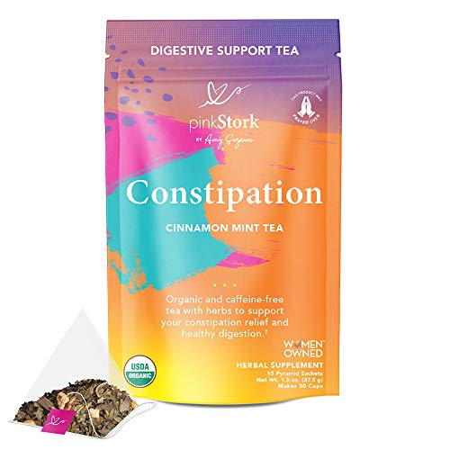 Pink Stork Constipation Tea: Cinnamon Mint Laxative Tea for Women, 100% Organic, Constipation & Gas Relief, Bloating + Cleanse + Detox, with Cardamom + Coriander Seeds, Women-Owned, 30 Cups