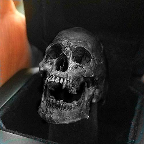 QZY Gótico Vintage Devil Satan Goat Skull Vampire Skull Ring Anillo Negro de Acero Inoxidable Punk Ring Fashion Men