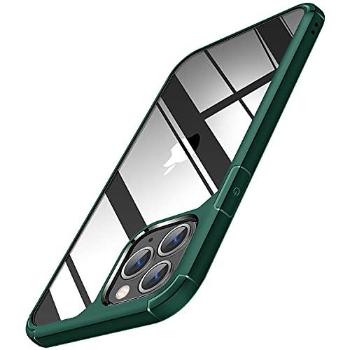 TENDLIN Crystal Clear Funda iPhone 11 Pro, Carcasa Protectora Anti Choques con PC Transparente Duro Panel Posterior y Marco de TPU Suave [Nunca-Amarillo] Slim Case - Verde Oscuro