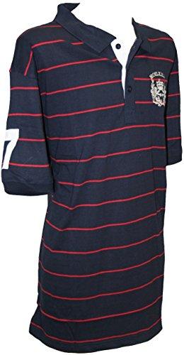 Espionage Rayures Crest Polo Top Marine & Rouge 3XL