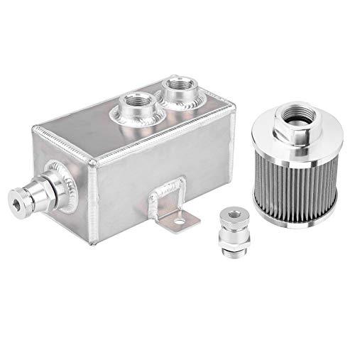 KIMISS [Aluminio y acero inoxidable] 1L Depósito de aceite El tanque de latas puede con un Filtro de Drenaje AN10