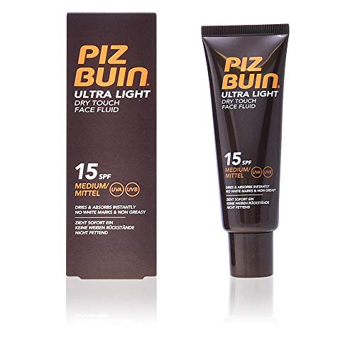Piz Buin - Protección Solar, Ultra Light Dry Touch Fluido Solar Facial SPF 15 - Protección media...