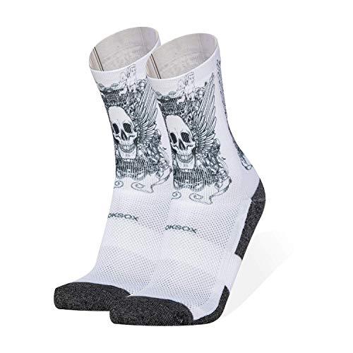 ROKSOX Premium Sport Socken Unisex mit Muster | atmungsaktive Laufsocken | multifunktionale Sportsocken | schnell trocknende Tennissocke | perfekte Passform für Damen und Herren (Schwarz, numeric_35)