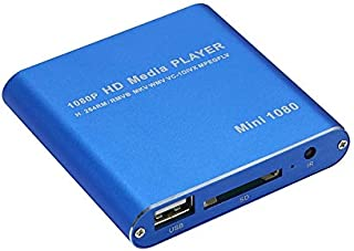 Player Player Mini 1080P Full HD Media USB HDD SD/MMC Card Player Box, UK Plug(Black) (Color : Blue)