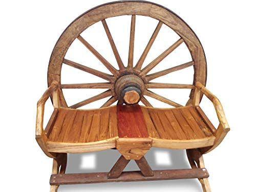 Wagenrad Gartenbank - 120cm 2-Sitzer aus massivem Teak Holz im Western Look - Massivholz Garten Bank für Terrasse, Patio, Wintergarten oder Garten
