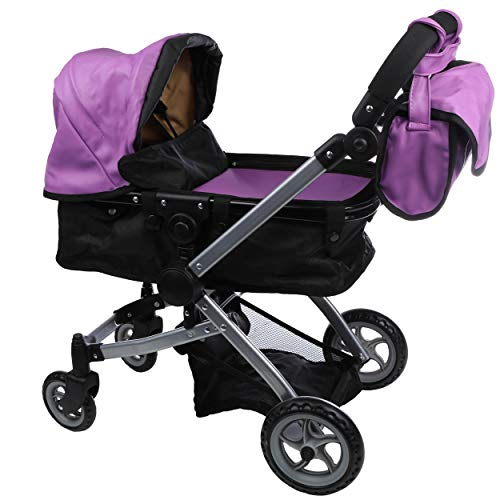 Babyboo Luxury Leather Look Doll Pram Foldable Doll Stroller with Basket, Convertible Seat, Adjustable Handle, Swiveling Wheels, and Free Carriage Bag (Multi Function) - 9651A Purple