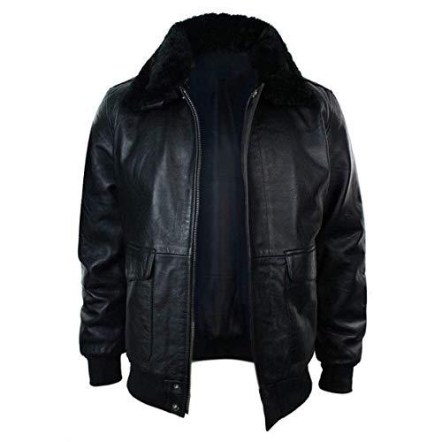 Mens G1 Aviator Navy Air Force Pilot Fur Collar Bomber Black Sheepskin Leather Jacket