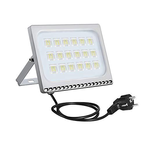 100W LED Fluter Außen Strahler Flutlicht mit EU-Stecker IP65 wasserdicht Super Helle Flut- & Spotbeleuchtung Außenbeleuchtung für Garten, Sportplatz,Fabriken, Anklagebänke (Kaltes Weiß, 1 Stück)