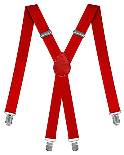 Dibi Mens Suspenders, Adjustable Elastic 1 Inch Wide Band with Heavy Duty Metal Clips, X Back Style (Red) at Amazon Men's Clothing store