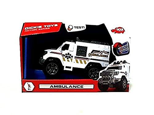 Dickie Toys 203304012 - Action Series Ambulance, Rettungswagen, Krankenwagen, Offroadauto mit Motor, mit Licht- und Soundfunktion, 20cm