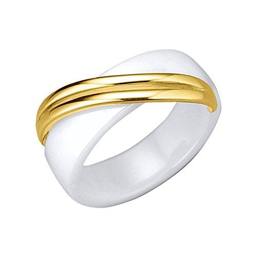 Jacques Lemans Damen Ring 925/- Sterling Silber mit Keramik 925/- Sterling Silber Glänzend weiß 490270024