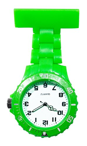Ellemka - Schwestern | Herren Damen Unisex | FOB Ansteckuhr | Analoge Uhranzeige | Digitales Quartz Uhrwerk | NS-2102 Plastik ABS Pin Band | Monocolor WD - Green Light Grün